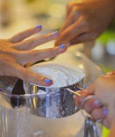 little hands measure flour